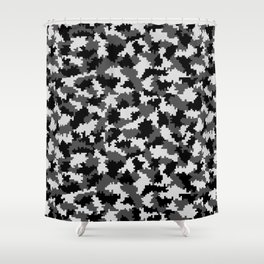 Camouflage Digital Black and White Shower Curtain
