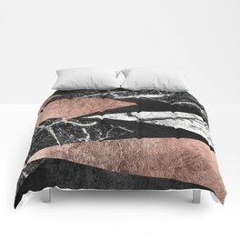 Elegant Modern Marble, Rose Gold, & Black Foil Triangles Comforters