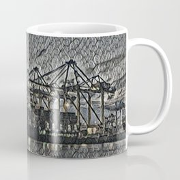 Netherlands Rotterdam Harbour Artistic Illustration Bubble Wrap Style Coffee Mug