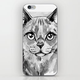 Cat portrait in Black and White iPhone Skin