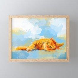 Cat Dream - orange tabby cat painting Framed Mini Art Print