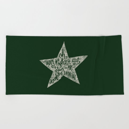Oh holy night- Merry christmas- Illustration Star with Typography on festive green Beach Towel