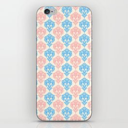 Vintage chic ivory coral blue floral damask pattern iPhone Skin