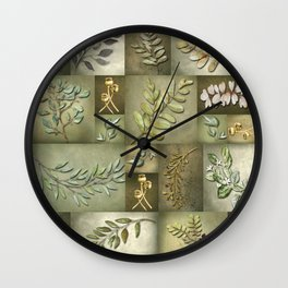 Earthtone Color Blocks with Botanicals Wall Clock