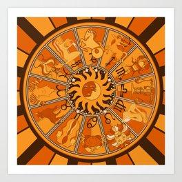 Harley and J Zodiac Orange Art Print