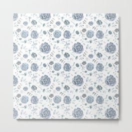Flower Pattern - Gray/Blue/Charcoal Metal Print