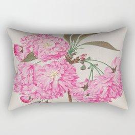 Barrier Mountain Cherry Blossoms Watercolor Rectangular Pillow