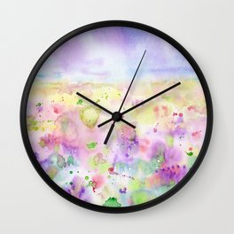 Watercolor abstract meadow Painting Wall Clock