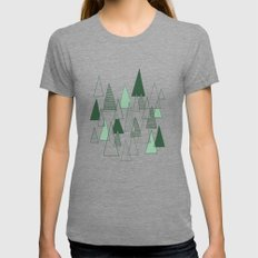 Forest Pattern Tri-Grey Womens Fitted Tee SMALL