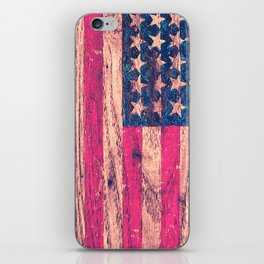 Vintage Pink Patriotic American Flag Retro Wood iPhone Skin