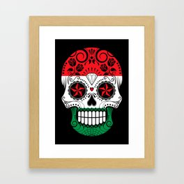 Sugar Skull with Roses and Flag of Hungary Framed Art Print