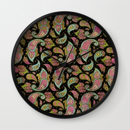 Pink and Blue glitter Gold Paisley  on black Wall Clock