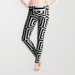 Square Target Black White 8x8 Chessboard Leggings