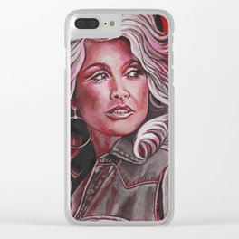 Dolly Parton in Pink Clear iPhone Case