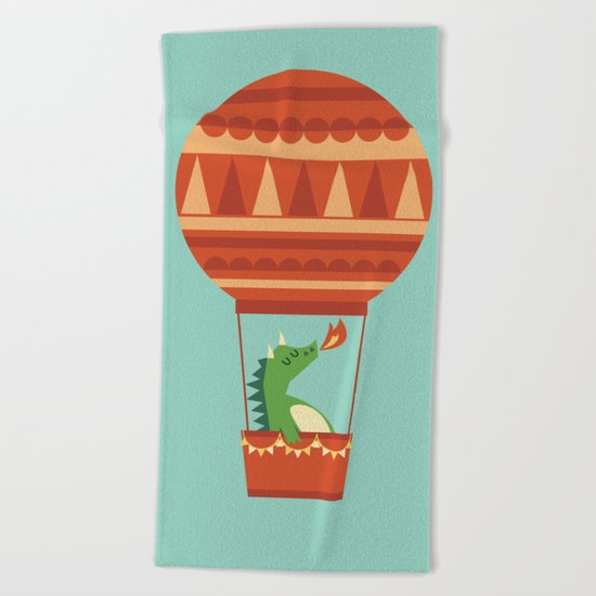Dragon On Hot Air Balloon Beach Towel