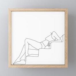 Female figure line drawing illustration - Sadie Framed Mini Art Print