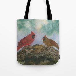 Pine Forest Cardinals Tote Bag
