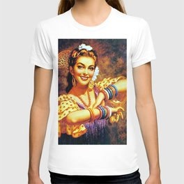 Jesus Helguera Painting of a Mexican Calendar Girl with Bangles T-shirt