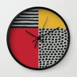 Earth Tone, Red Orange Pattern, Scandinavian Design Wall Clock
