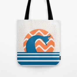 Hang Loose Wave // Sun Surfer Shaka Beach Retro Graphic Design Horizontal Daze Waves Tote Bag