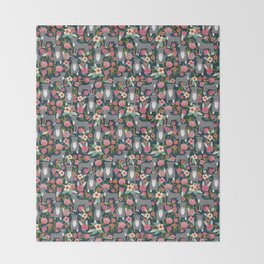 Pit Bull Terrier florals must have dog art pet friendly gifts for pit bull owners cute illustration  Throw Blanket