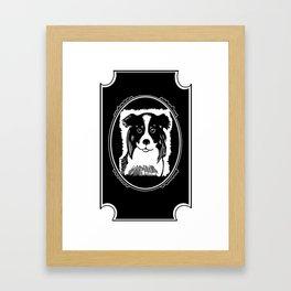 Border Collie Deco Border Black & White Art Framed Art Print