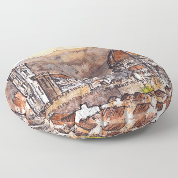 Florence ink & watercolor illustration Floor Pillow