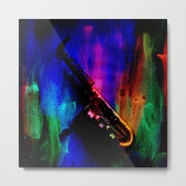 Midnight Sax Metal Print