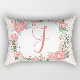 Monogram J - cute girls coral florals flower wreath, coral florals, baby girl, baby blanket Rectangular Pillow