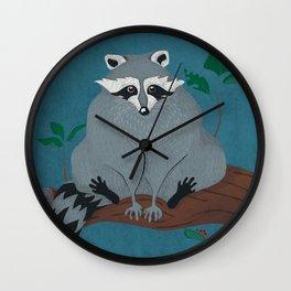 Cute City Raccoon in Tree Wall Clock