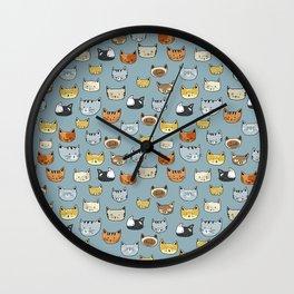 Cat Face Doodle Pattern Wall Clock