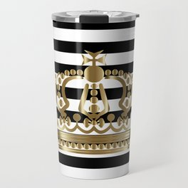 Black and White Stripes and Gold Crown 1 Travel Mug