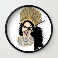india Wall Clocks featuring India by ElodieD