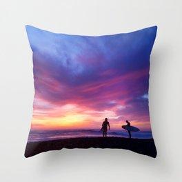 Surfer's Sunset Throw Pillow