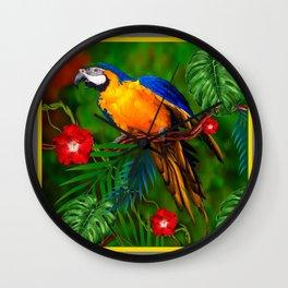 JUNGLE  FOLIAGE BLUE-GOLD MACAW PARROT Wall Clock
