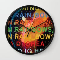 radiohead Wall Clocks featuring Radiohead - In Rainbows by NICEALB