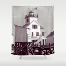 Point Au Fer Reef Lighthouse Shower Curtain