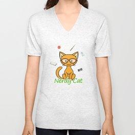 Nerdy Cat - Orange Unisex V-Neck