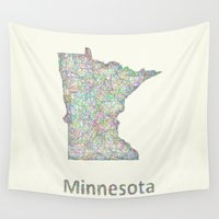 minnesota Wall Tapestries featuring Minnesota map by David Zydd