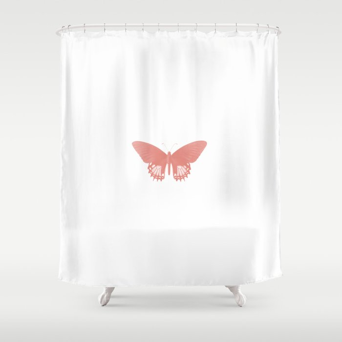 Rose Butterfly Shower Curtain