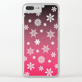 Snow Flurries-Pink/Black Ombre Clear iPhone Case