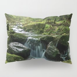 Flowing Creek, Green Mossy Rocks, Forest Nature Photography Pillow Sham