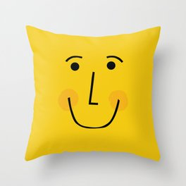 Smiley Face in Yellow Throw Pillow