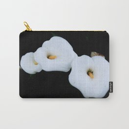 Three Calla Lilies Isolated On A Black Background Carry-All Pouch