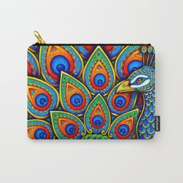Colorful Paisley Peacock Rainbow Bird Carry-All Pouch