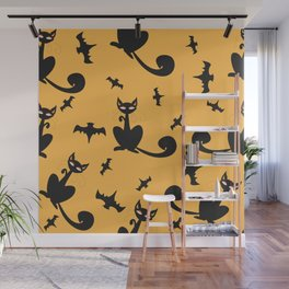 Seamless Halloween Pattern with cats and bats Wall Mural