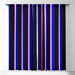 Fuchsia, White, Blue, and Black Colored Lines Pattern Blackout Curtain