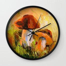White mushrooms Wall Clock
