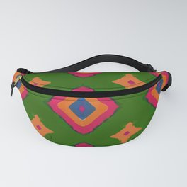 Abstract geometric pattern.Multicolored tribal rhombus pattern on green background Fanny Pack