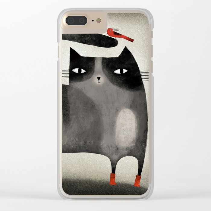 RED BOOTS & BIRD Clear iPhone Case